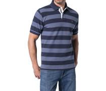 Herren Polo-Shirt Baumwoll-Piqué jeansblau-dunkelblau gestreift