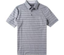 Herren Polo-Shirt Baumwoll-Piqué grau gestreift