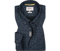 Herren Hemd, Baumwolle, Regular Fit, dunkelblau gemustert