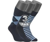 Herren Socken Baumwolle blau gemustert