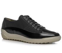 Herren Schuhe Sneaker, Leder-Canvas, schwarz