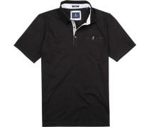 Herren Polo-Shirt, Modern Fit, Baumwoll-Jersey, schwarz