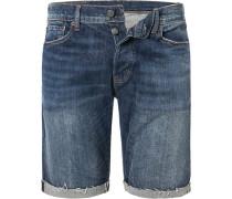 Herren Jeansshorts Slim Fit Baumwolle indigo blau
