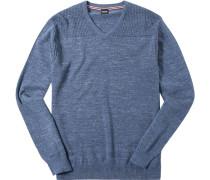 Herren Pullover Wolle rauchblau