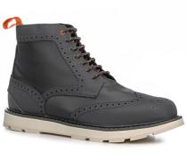 Herren Schuhe Stiefeletten Microfaser-Gummi grau-weiß