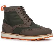 Herren Schuhe Schnürstiefeletten Microfaser-Gummi oliv-braun