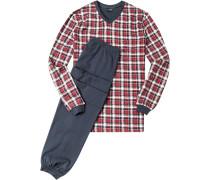 Herren Schlafanzug Pyjama Baumwolle bordeaux-indigo kariert blau,rot
