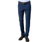 Herren Hose, Slim Fit, Schurwolle Super100, indigo blau
