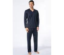 Herren Schlafanzug Pyjama Baumwolle marine blau