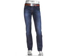 Herren Jeans Regular Slim Fit Baumwoll-Stretch T400 dunkel
