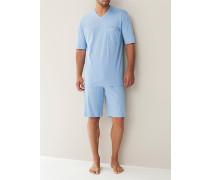 Herren Schlafanzug Pyjama, Baumwolljersey, hellblau