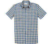 Herren Hemd, Regular Fit, Popeline, blau-gelb kariert