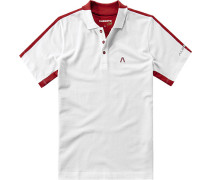 Herren Polo-Shirt Coolmax-Baumwolle-Mix weiß-rot