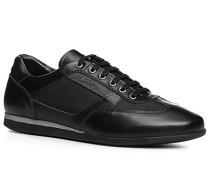 Herren Schuhe Sneaker, Kalbleder-Nylon, schwarz