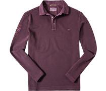 Herren Polo-Shirt Baumwoll-Piqué bordeaux meliert rot