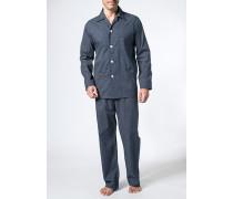 Herren Schlafanzug Pyjama, Baumwolle, nachtblau-weiß gepunktet