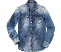 Herren Jeanshemd Slim Fit jeansblau