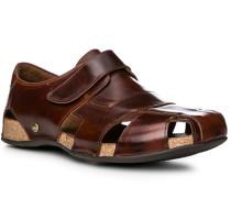 Herren Schuhe Sandalen, Glattleder, haselnussbraun