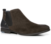 Herren Schuhe Chelsea Boots Veloursleder dunkelbraun braun,blau