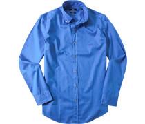 Herren Hemd Regular Fit Twill kobaltblau