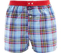 Herren Unterwäsche Boxershorts Baumwolle bleu-rot gemustert blau
