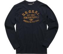 Herren T-Shirt Longsleeve Baumwolle dunkelblau
