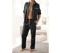 Herren Schlafanzug Pyjama, anthrazit grau
