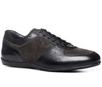 Herren Schuhe Sneaker, Velours-Glattleder, braun-schwarz
