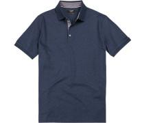 Herren Polo-Shirt, Baumwoll-Jersey, jeansblau meliert