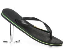 Herren Schuhe Zehensandalen, Gummi, schwarz