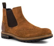 Schuhe Chelsea Boots Veloursleder cognac