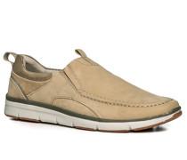 Herren Schuhe Slipper Nubukleder sand beige