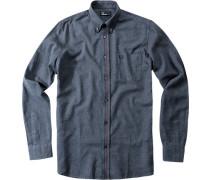 Herren Hemd Baumwolle marine meliert blau