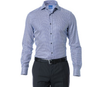 Herren Hemd Slim Fit Strukturgewebe royalblau-weiß gemustert