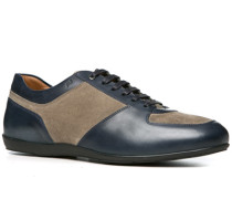 Herren Schuhe Sneaker, Velours-Glattleder, taupe-petrol blau
