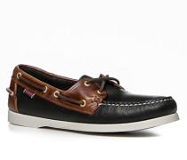 Herren Bootsschuhe, Leder, schwarz-braun