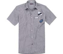 Herren Hemd Modern Fit Popeline weiß-navy gestreift blau