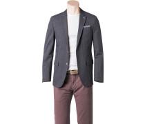 Herren Sakko Modern Fit Baumwoll-Stretch grau gemustert