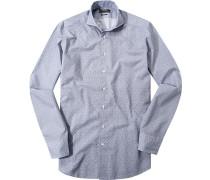 Herren Hemd Shaped Fit Popeline marine-weiß floral blau