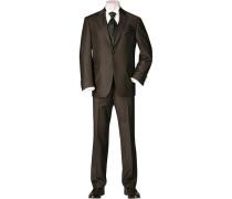 Herren Anzug ohne ohne Weste Dunkelbraun Strukturstreifen