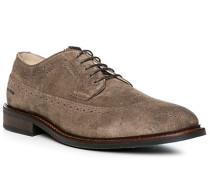 Herren Schuhe Budapester, Kalbvelours, taupe beige