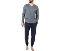 Schlafanzug Pyjama Baumwolle marine gemustert