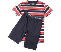 Herren Schlafanzug Pyjama Baumwolle rot-blau gestreift