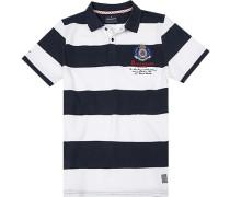 Herren Polo-Shirt, Baumwolle, navy-weiß gestreift blau