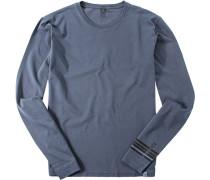 Herren T-Shirt Longsleeve Baumwolle navy gemustert blau