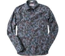 Herren Hemd Modern Fit Popeline jeansblau gemustert blau,multicolor