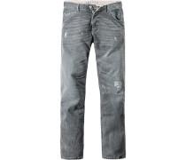 Herren Jeans, Tapered Fit, Baumwoll-Stretch, grau