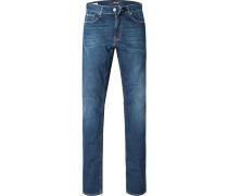Herren Jeans Straight Cut Baumwoll-Mix indigo blau