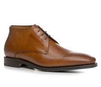 Herren Schuhe Schnürstiefeletten Kalbleder cognac