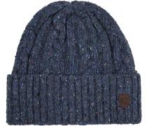 Herren  Mütze Woll-Mix blau meliert